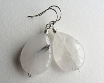 Rutilated Quartz Earrings with Sterling Silver - Smooth Natural Gemstone Jewelry Handmade in Seattle - Dangle and Drop - Alt Wedding Bride