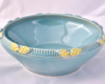 Large Serving Bowl in Robins Egg Blue and Yellow - Ceramic Stoneware Pottery