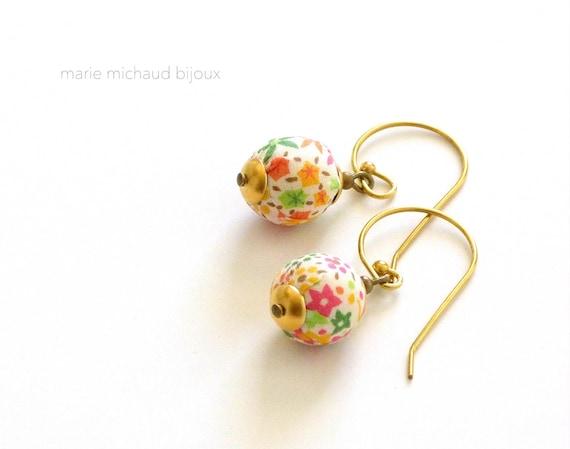 Liberty earrings,Colorful earrings,Pastel earrings,Colorful Liberty earrings,Textile earrings,Liberty fabric earrings,Summer earrings,