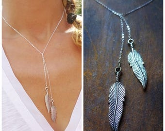 Sterling silver feather lariat, y necklace, feather necklace, free spirit, nature, boho, hippie chic, bohemian, otis b, birds of a feather
