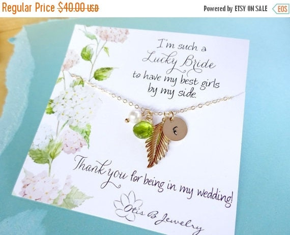 1 DAY 30% OFF SALE Personalized bridesmaid gift, Gold initial necklace with birthstone, gold leaf charm necklace, autumn wedding, fall weddi