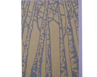 Birch Trees Blank Card Recycled Paper Compostable Plastic Environmentally Friendly