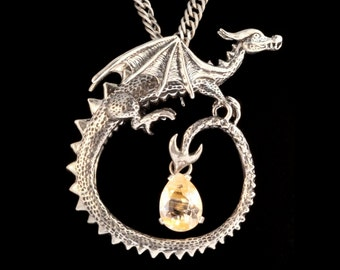 Renaissance Jewelry Dragon Necklace Circle Dragon Pendant with Rutilated Quartz Gothic Dragon with Gemstone Curled Dragon Necklace