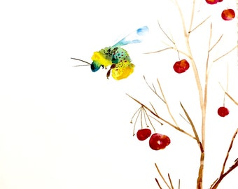 "Bee Watercolor Painting, Bumblebee Art, Original Watercolor Painting, 11""x15"""