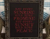 May Every Sunrise Hold More Promise Sunset Hold More Peace Handmade Encouragement Frameable Gift Marriage Inspirational Original Embroidery