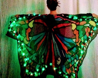 Color changing RGB Butterfly LED Dance wings premade ready to ship