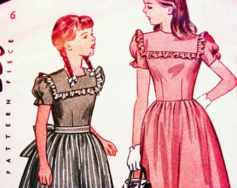 Vintage Sewing Pattern 1940s 40s Girl's Dress Pattern size 6 Girls Puff Sleeve Dress Pattern Simplicity Pattern