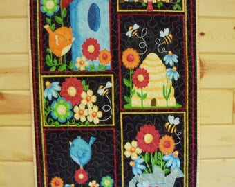 Wall Hanging Quilt Birds and Bees Door Banner Quilted Room Decor Summer Wall Art