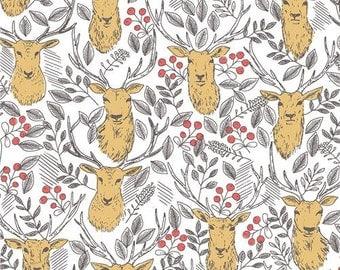 211841 off-white fabric cute deer animal leaf berry by Dear Stella USA