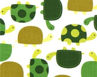 165016 cute fabric with green turtles Robert Kaufman