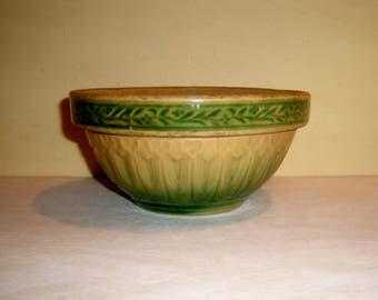 MIXING BOWL Yellow Ware Green Stoneware Pottery relief pattern collar old vintage antique
