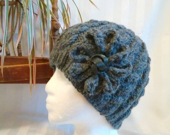 Wool/Acrylic Cable Beanie.  Beanies for Women. Knit Hat. Dark Gray Heather. Edwardian Gray. Optional Crocheted Flower. Mens or Womens Beanie