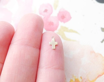 Tiny Cross Charm Gold Filled Crosses Barely There Minimal Jewelry Making Componenets (CHGF1878)