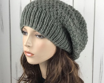 Hand knit hat - Oversized Chunky Wool Hat, slouchy hat sage green - ready to ship
