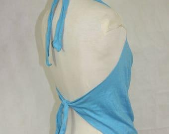 Sky Blue Hemp Cotton Blend Cowl Neck Backless Goddess top