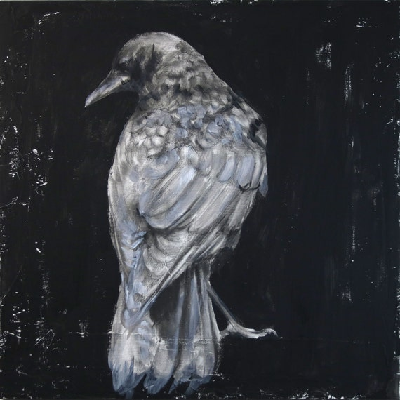 Crow Study by Ingrid Blixt- original drawing on wood panel