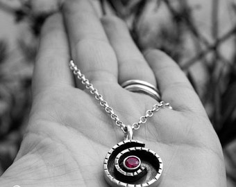 LAST CHANCE Sterling silver and Ruby Handcrafted Necklace - Nautilus -