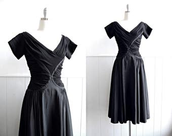 1950s Black Ruched Jersey and Taffeta Cocktail Dress // Small