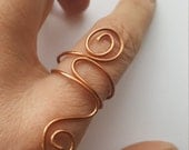 Copper Wrap Ring Wire Size 9. Woman or Man. Statement Bold
