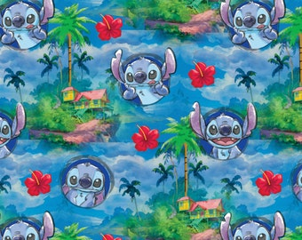 Disney Stitch Hawaii Night cotton woven fabric by the yard