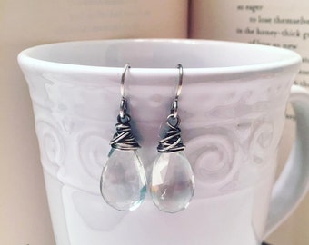 Green Amethyst Faceted Drops
