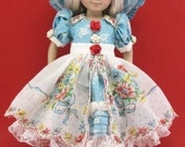 """Doll Dress fits 13"""" Little Darlings Diana Effner  By Hankie Couture Handmade Dress with Apron!"""