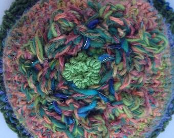 HAT, knit and crochet wool beanie, warm winter hat, women adult fiber art, wearable art, M L XL merino wool cashmere silk, blue green i600