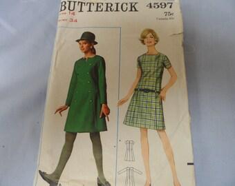 Butterick 4597 Misses Dress Pattern Size 14 Vintage