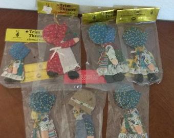 1970s Holly Hobbie Cloth Ornaments Original Package Set 7