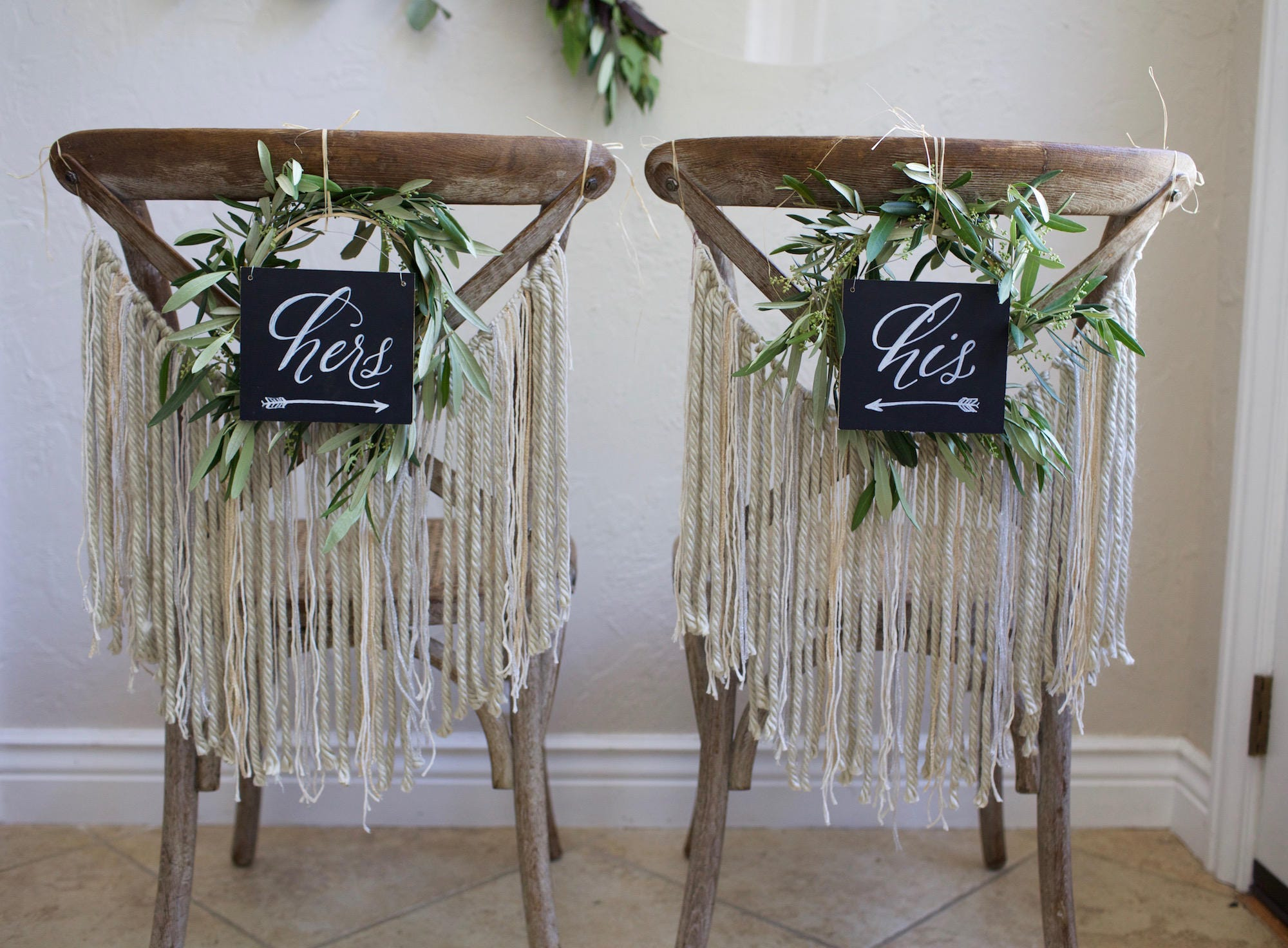 "Ready to ship! Set of two hand painted ""his and hers"" chalkboard chair back signs for wedding. Sweetheart chairs. Decorations not included"
