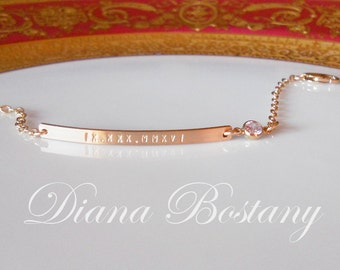 Roman Numeral Bracelet w/ Diamond, Personalized Bar Bracelet w/ CZ , Dainty Bracelet, Custom Bracelet, Date Bar, Gift, Bridesmaids