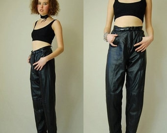 sale 25% off Leather Moto Pants Vintage Black Leather TOGETHER! High Waist Moto Biker Skinny Pants (m)