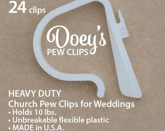 Pew Clips attach Wedding Ceremony Church Aisle decorations to Pews, Chairs, Tables to hang Bows, Flowers, and Mason Jars 24 Doey's Pew Hooks