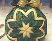 Handmade Quilted Christmas Ornament Green 'n Gold