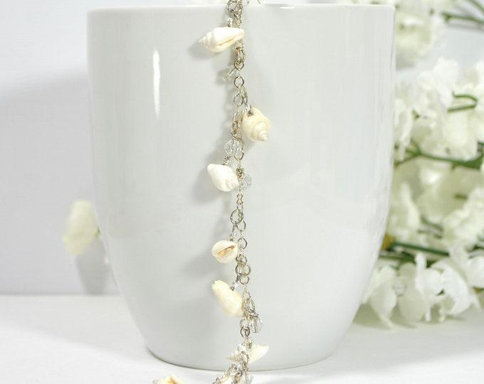 Seashell Hair Beads Hair Chain Beaded Hair Clip Beaded Hair Fork White  Silver Geisha Hair Pin Hair Dangle Snap Clip or U Pin