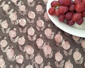 Hand Block Printed Fabric from India - Floral Cotton Print - Bohemian Fabric by the Yard