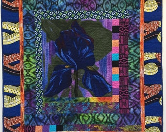 Give Yourself Flowers on a Blue Monday  42x47 inch quilted wallhanging