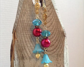 Turquoise and red floral drop earrings
