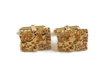Christian Dior 10k Gold Plate Cuff Links Vintage Abstract Design