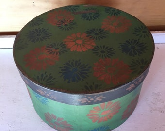 Paper Mache Primiitve Folk Art Hat Box