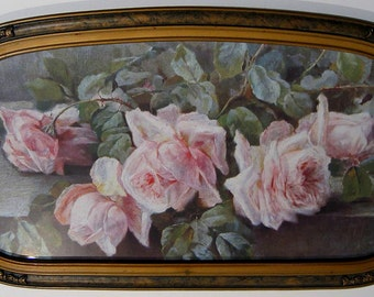 Vintage Roses, Art Print, Half Yard Long, Antique Barbola Frame, Shabby Chic Decor