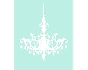 Chandelier Silhouette Print Chandelier Art Chandelier Decor Chandelier Wall Art Girl Room Decor Baby Girl Nursery Art - CHOOSE YOUR COLORS
