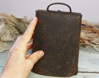 Antique COWBELL Rusted- Hand Forged- Riveted- Farm House Chic- Large Cow Bell- Primitive Decor- Bull- Iron Cow Bell- K13