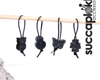 Soul Band - Knitting Stitch Markers, Set of four Knitting Place Markers made out of recycled solid black plastic