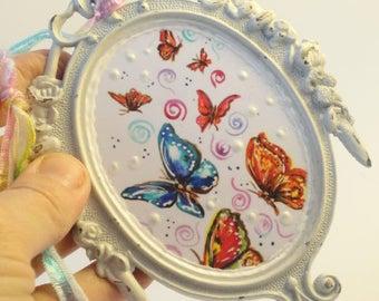 Butterfly art,  mixed media art, upcycled art, Original art, OOAK original art, Mini art,  repurposed  Vintage Frame