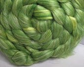 Sale Flax/BFL/Mulberry Silk 33/33/33 Combed Top - 5oz - Grass Green