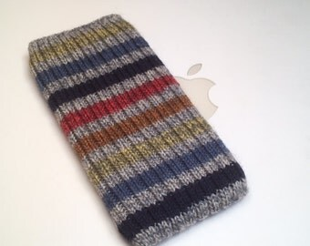 iPhone 6 Sock Hand Knit in Wool - Blue Jean Baby Design