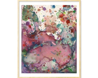 Her Funny Gift Art, Dorm Decoration, Her Dorm Wall Print, Abstract Watercolor, Purple, Handwriting,Colorful Print, Creepy Cute,8.5x11, 11x14