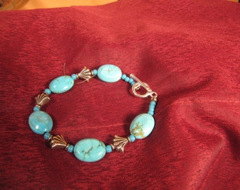 Flur Di Lis TURQUOISE & SILVER BRACELET, Turquoise Bracelet, Flur di lis Bracelet,Flur Di Li Jewelry Hand made,Turquoise and Silver one only