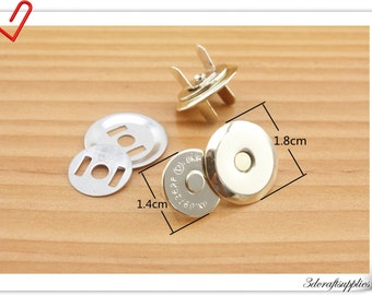 18mm light gold ultrathin Magnetic Snap, magnetic snaps Closure - Pack of 20 sets F75